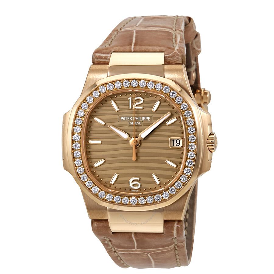 Patek philippe nautilus 18k rose gold diamond ladies watch 7010r 012 nautilus patek philippe for Patek philippe nautilus