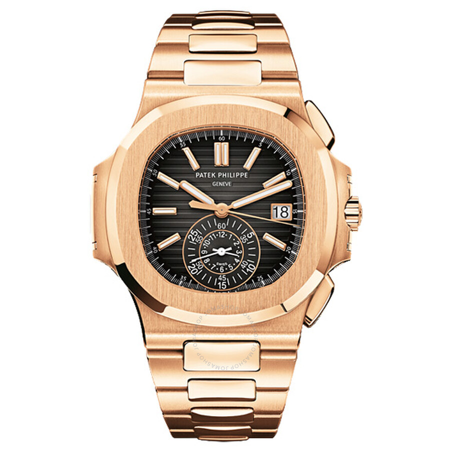 Patek Philippe Nautilus Black Dial 18kt Rose Gold Chronograph Automatic Mens Watch 5980-1R-001