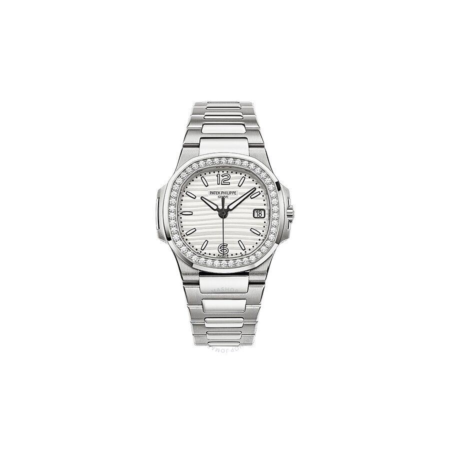 Patek Philippe Nautilus Silvery White Dial Ladies 18 Carat White Gold Set With Diamonds Watch 7010/1