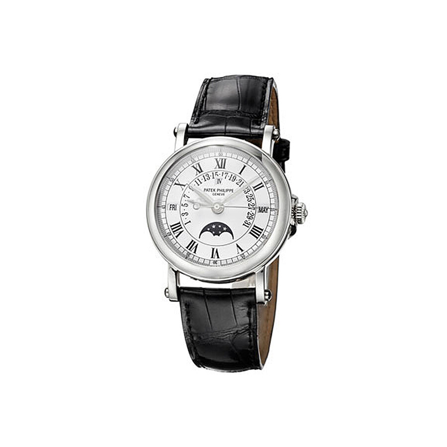Patek Philippe Perpetual Calendar Black Leather Mens Automatic Watch 5059P