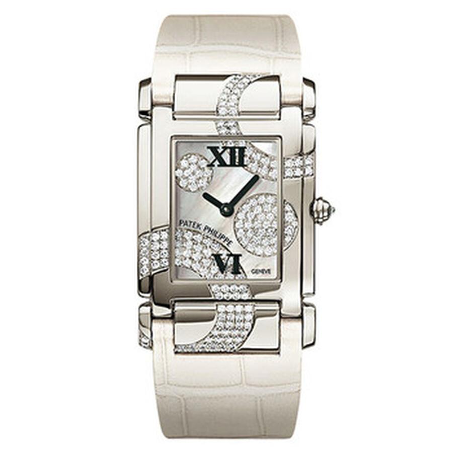 Patek Philippe Twenty~4 Mother of Pearl Dial Leather Ladies Watch 4914G-001