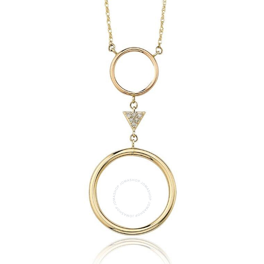 PerlAura Vanguard 14k Gold Necklace With Double Circle Pendant And Diamonds