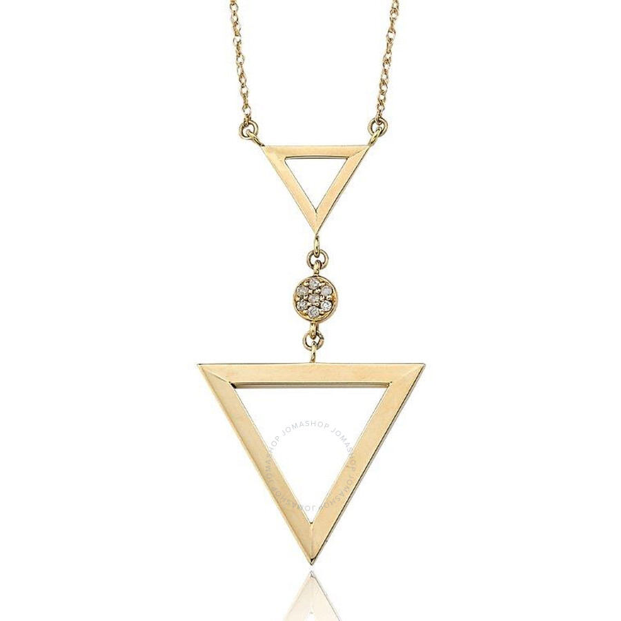 PerlAura Vanguard 14k Gold Necklace With Double Tringle Pendant And Diamonds