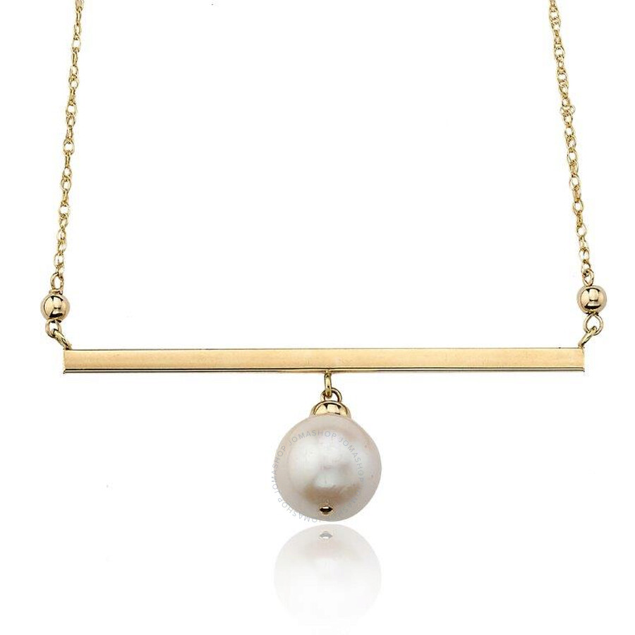 PerlAura Vanguard 14k Gold Necklace With Stick Pendant And Hanging Pearl