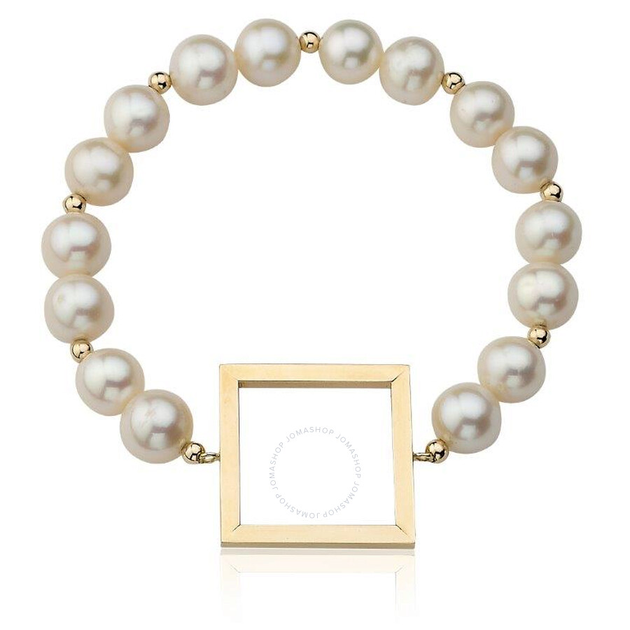 PerlAura Vanguard 14k White Pearl Bracelet With Gold Square And Beads