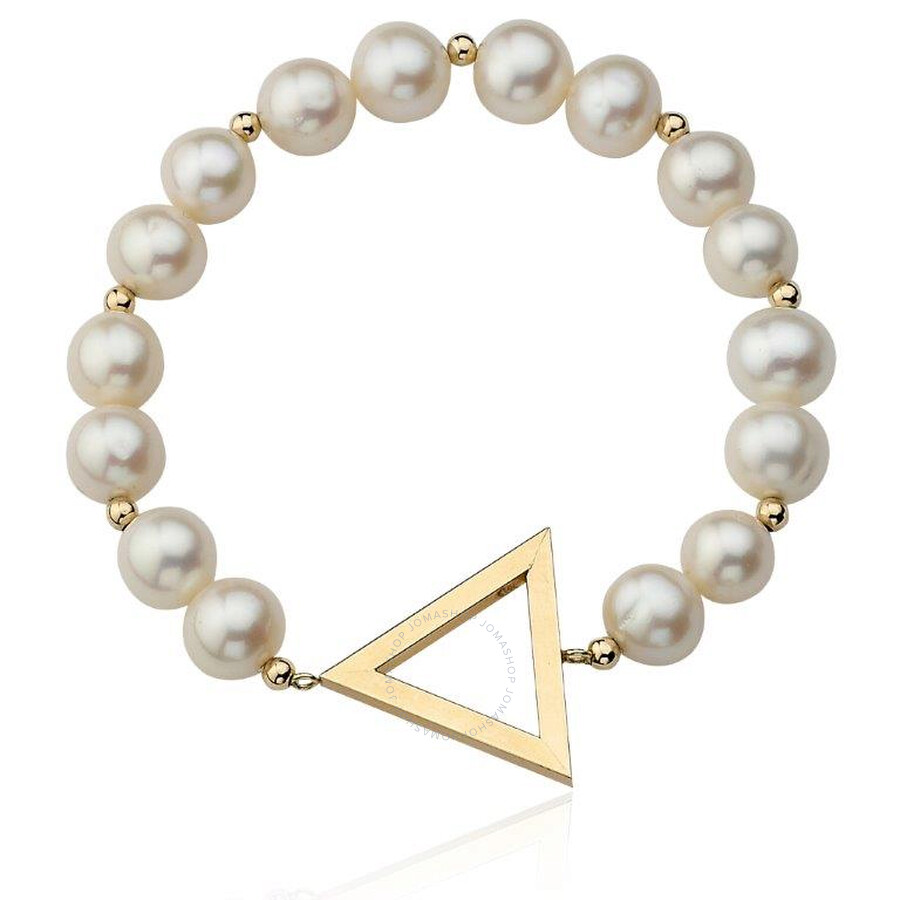 PerlAura Vanguard 14k White Pearl Bracelet With Gold Triangle And Beads
