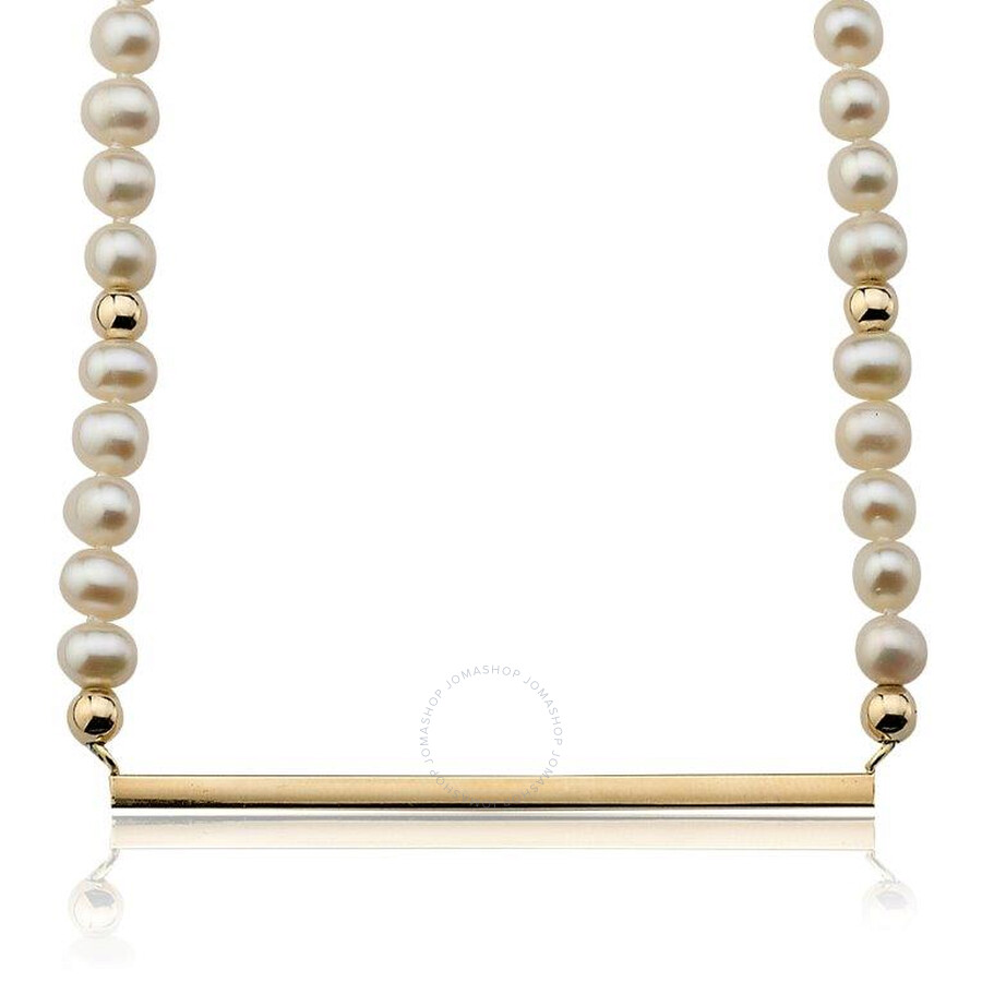 PerlAura Vanguard Pearl Strand 14k Gold Necklace With Gold Bar Attached Pendant