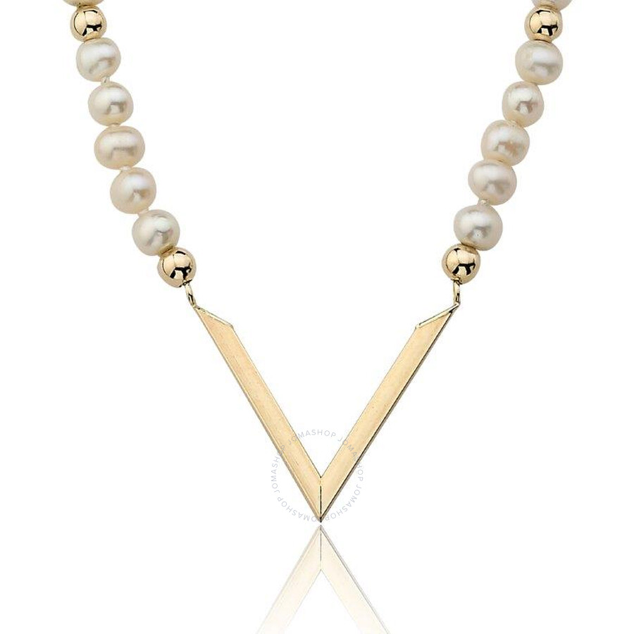 PerlAura Vanguard Pearl Strand 14k Gold Necklace With Gold Chevron Attached Pendant