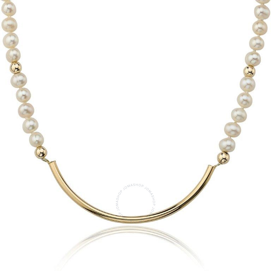 PerlAura Vanguard Pearl Strand 14k Gold Necklace With Gold Crescent Attached Pendant