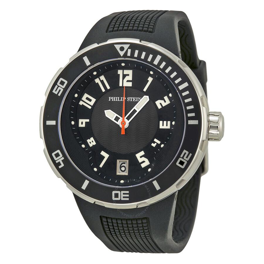 Philip stein extreme black dial black rubber strap men 39 s watch 34 bb rb extreme philip stein for Philip stein watches