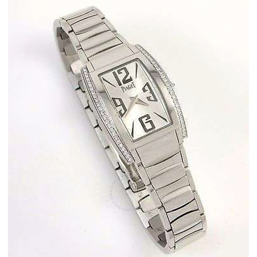 Piaget Limelight Silver Dial 18K White Gold Diamond Ladies Watch GOA36095