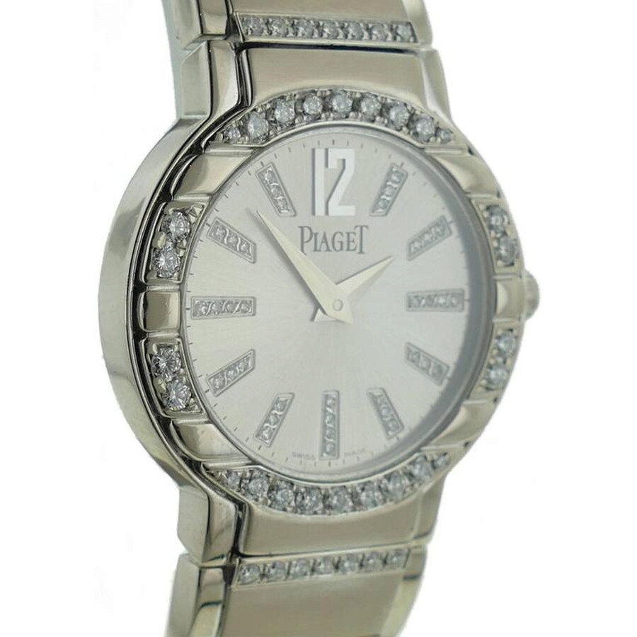 Piaget Polo Silver Dial 18K White Gold Diamond Ladies Watch G0A36233