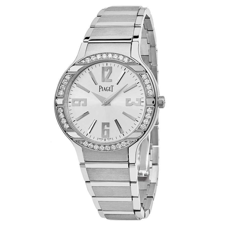 Piaget Polo Silver Dial 18Kt White Gold Bracelet Diamond Ladies Watch G0A36231