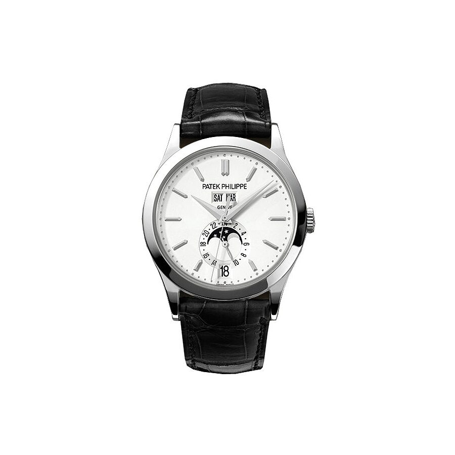 Patek Philippe Complications Silvery Opaline Dial White Gold Case Mens Annual Calender Watch 5396G