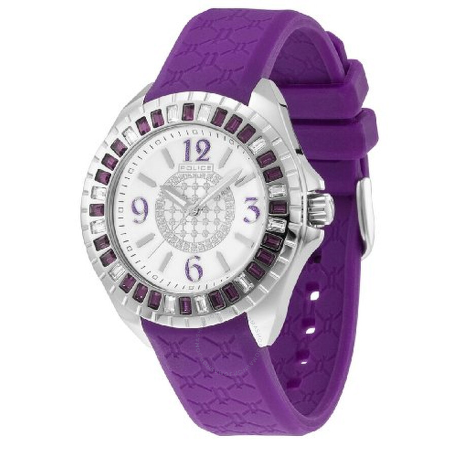 Police Jade Crystal Bezel Purple Rubber Ladies Watch PL-13090JS/28D