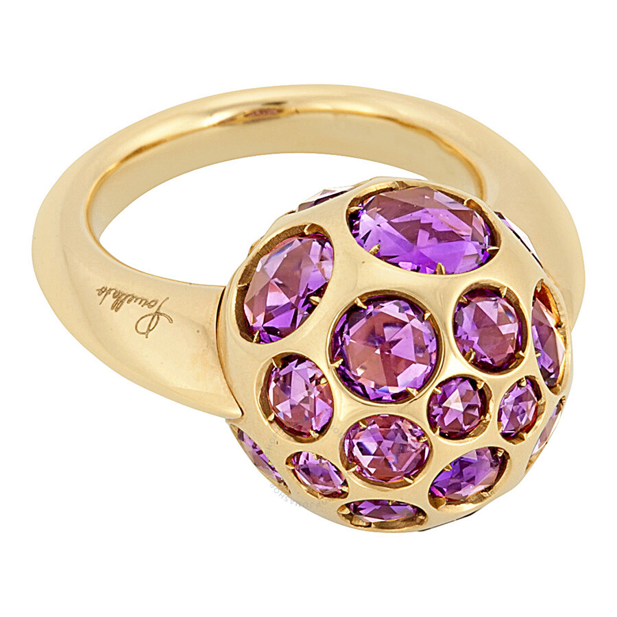 Pomellato 18k Yellow Gold Amethyst Harem Ring 852812 - Size 5
