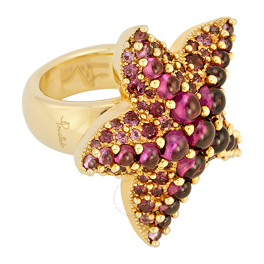 Pomellato 18k Yellow Gold Amethyst Starfish Ring 852839 - Size 6.25