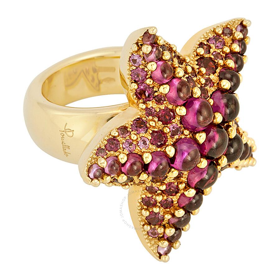 Pomellato 18k Yellow Gold Amethyst Starfish Ring 852839 - Size 6.25