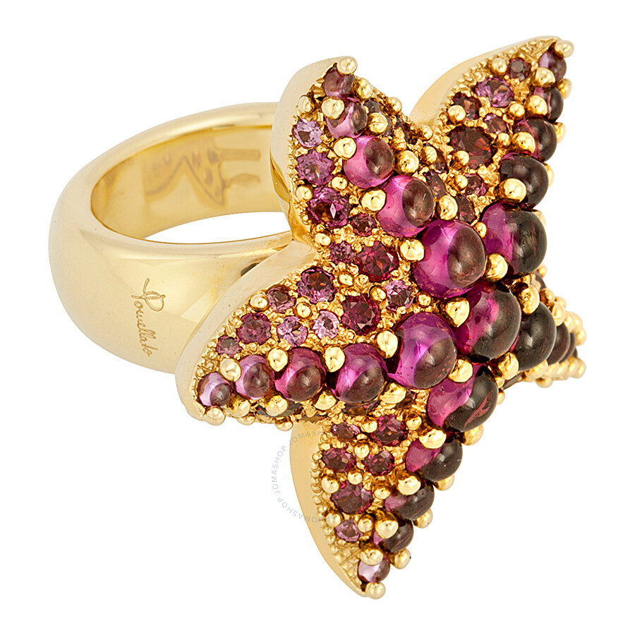 Pomellato 18k Yellow Gold Amethyst Starfish Ring 852839 - Size 6