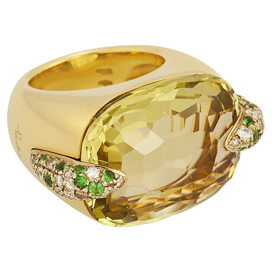 Pomellato 18k Yellow Gold Lemon Quartz Diamond and Emerald Ring 852844 - Size 6.75