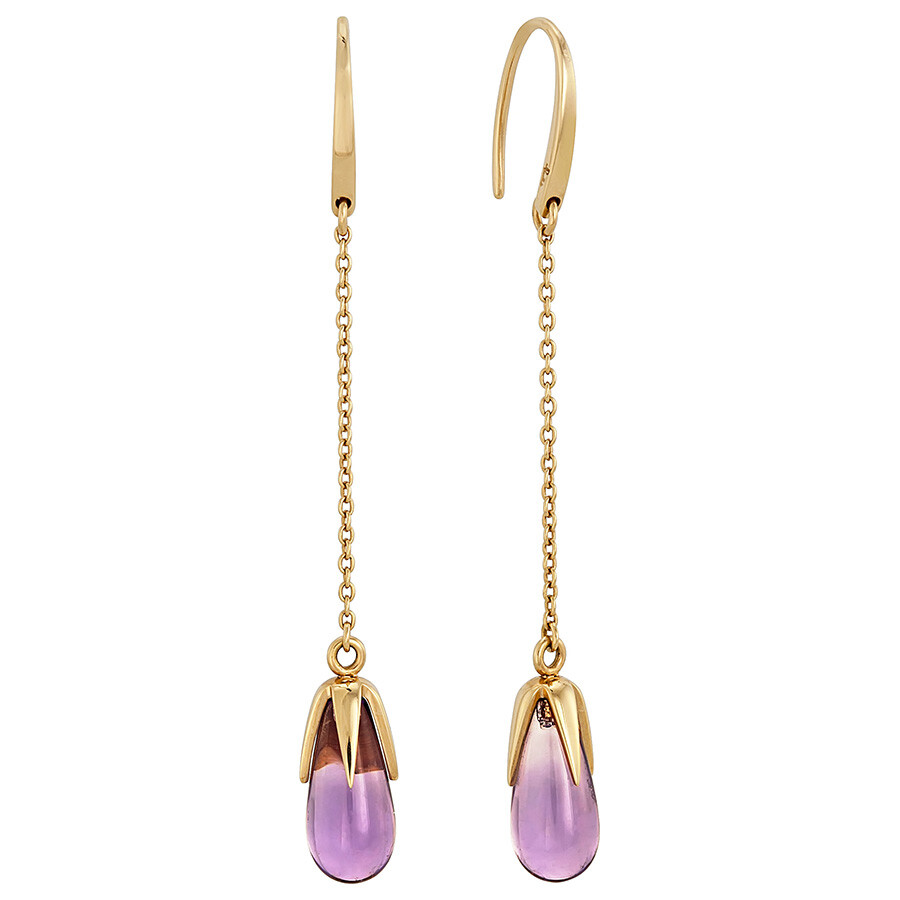 Pomellato 18kt Yellow Gold Amethyst Tear Drop Earrings 852845A