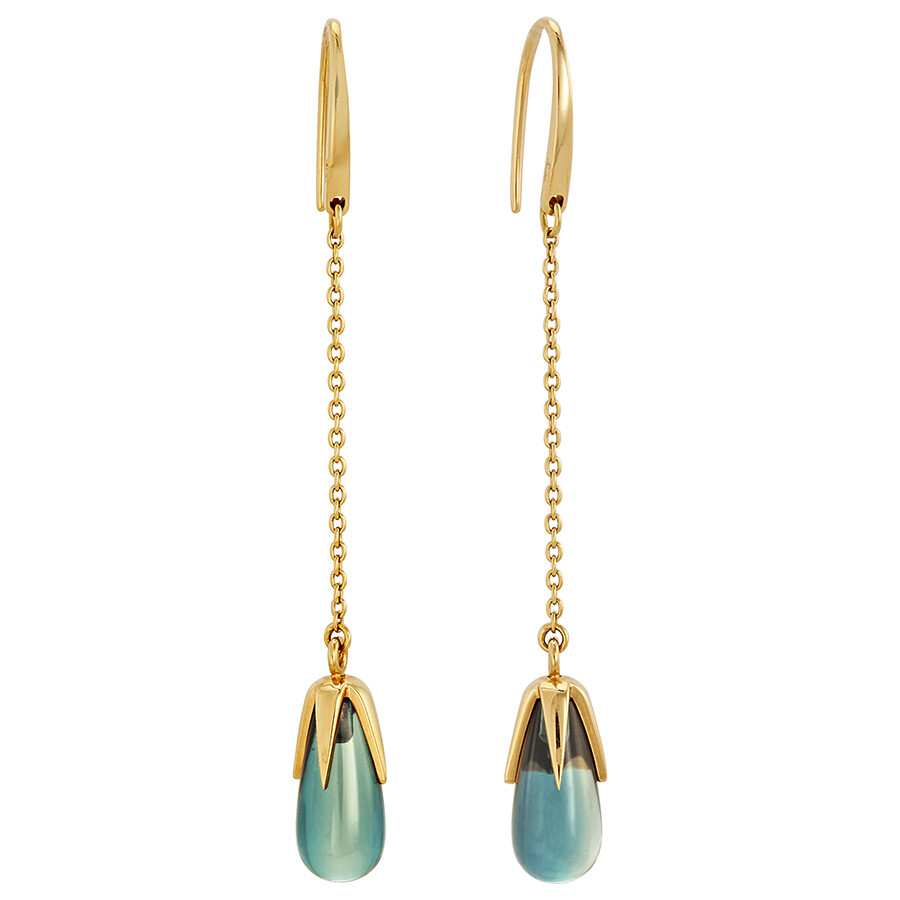 Pomellato 18kt Yellow Gold Tear Drop Blue Topaz Earrings 852845E