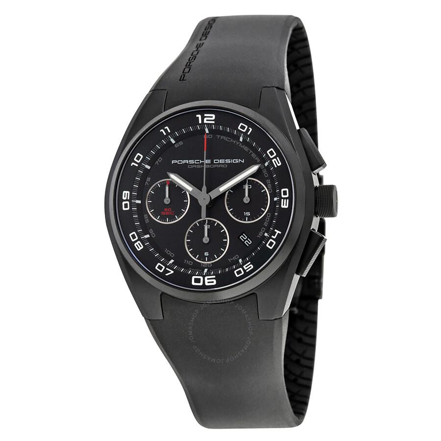 Porche Dashboard Chronograph Automatic Black Dial Black Silicone Mens Watch 6620.13.46.123