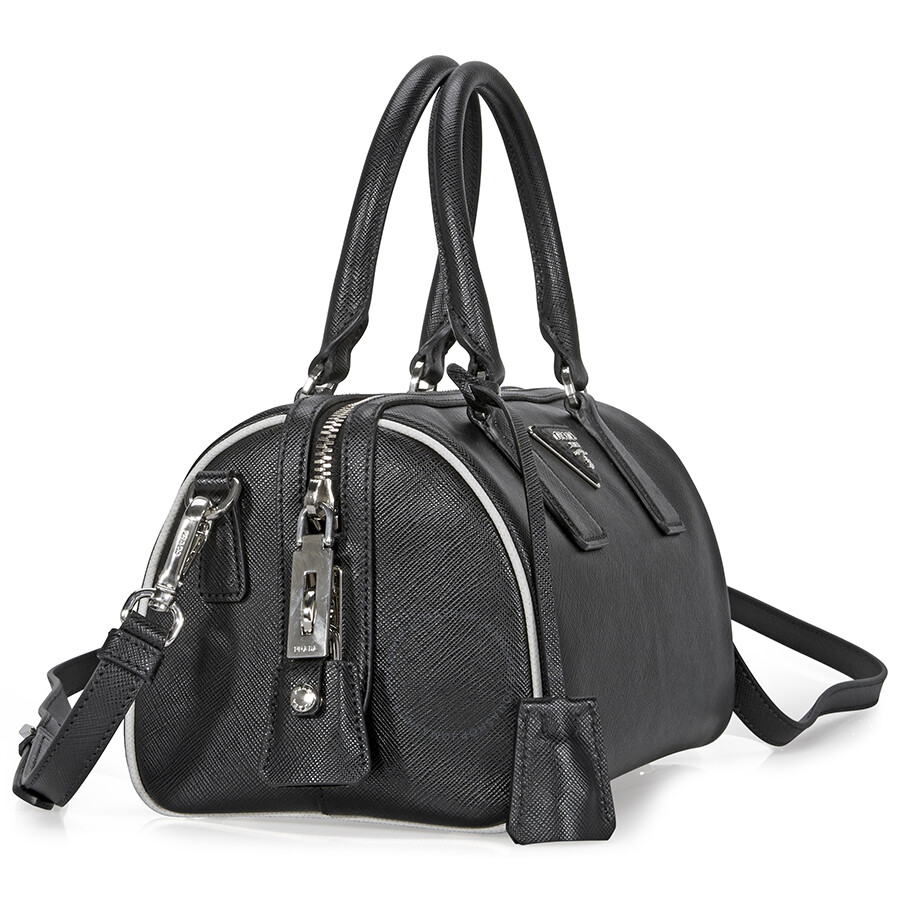 15791874adcd ... best price prada 2 way lux saffiano leather shoulder bag black talc  d8bbe e9248