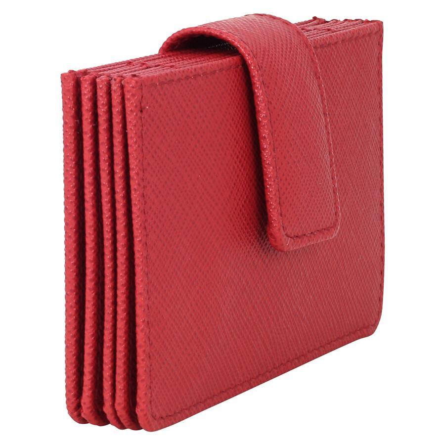 Prada Accordion Saffiano Leather Card Case - Fuoco - Prada ...