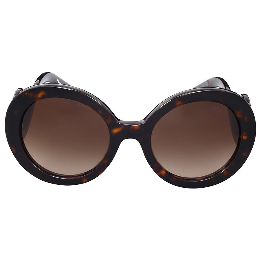 prada prada baroque round brown sunglasses