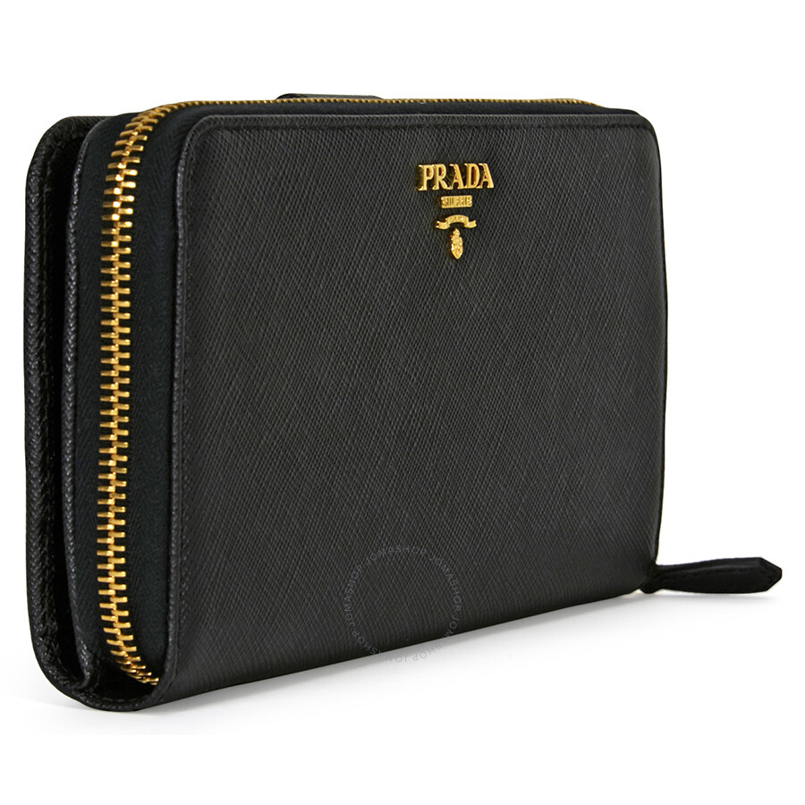 c93c68045fbe ... real prada bi fold zip saffiano leather continental wallet black 5e0bb  9f0d6