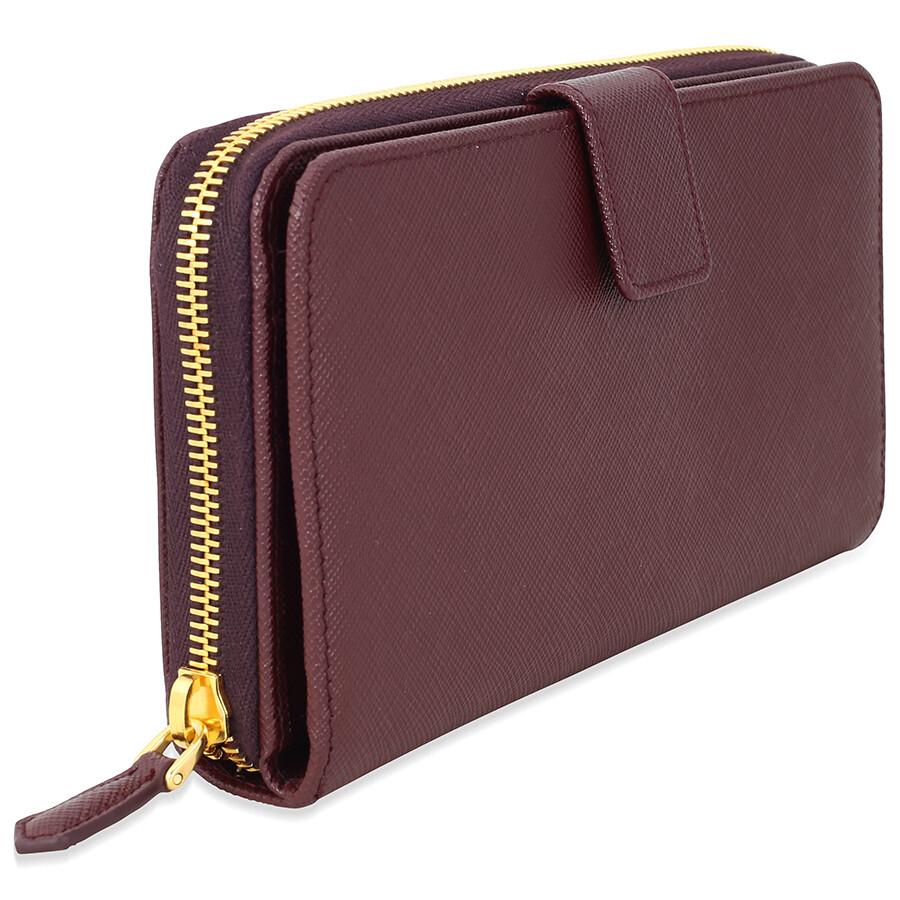 49ab9358e2ac ... spain prada bi fold zip saffiano leather continental wallet granato  51ba1 d060f