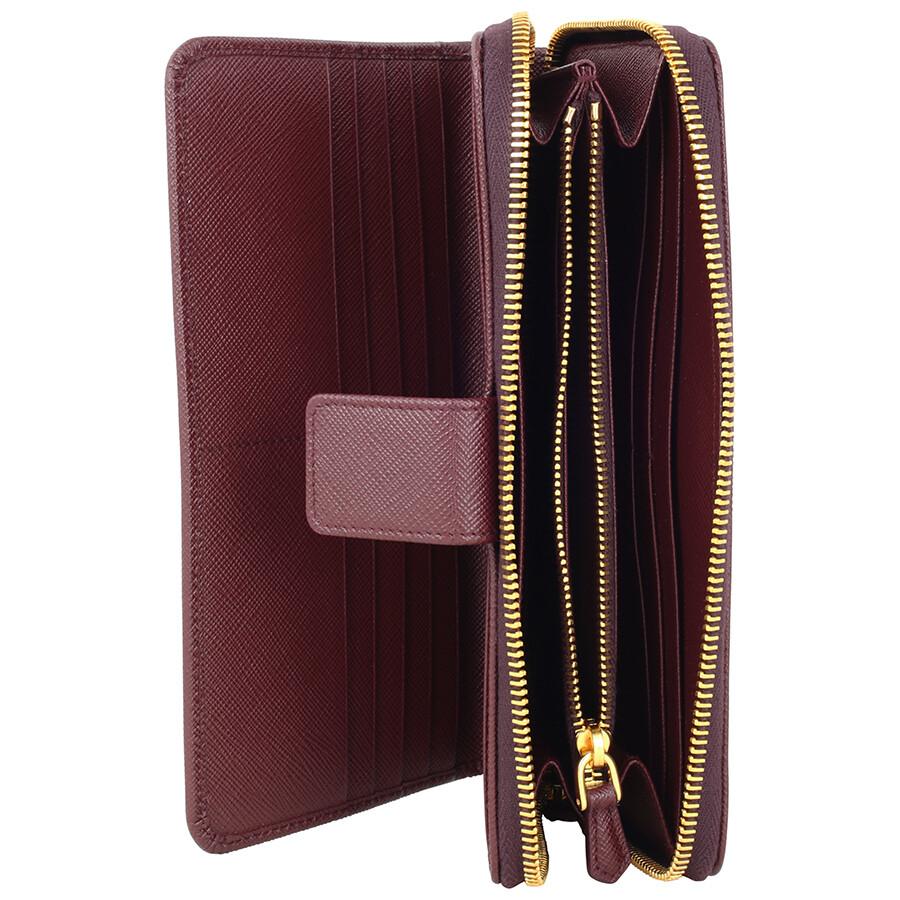 d0a4e0661c2ee4 ... spain prada bi fold zip saffiano leather continental wallet granato  e22b7 073b0