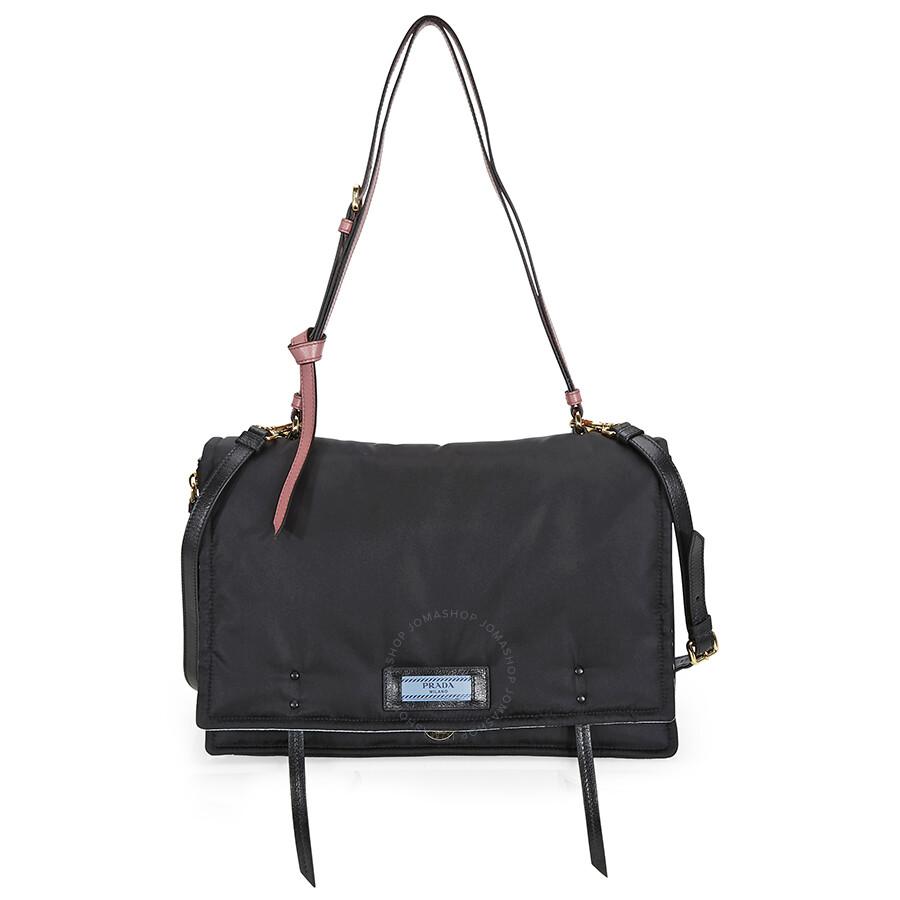 ... canada prada fabric shoulder bag black and pink 252c1 d58e7 01d8fcbbba5d8