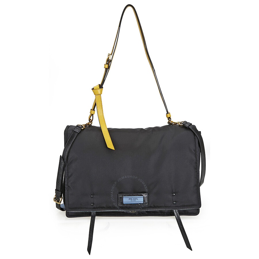 de3075f8150f Prada Fabric Shoulder Bag - Black and Yellow