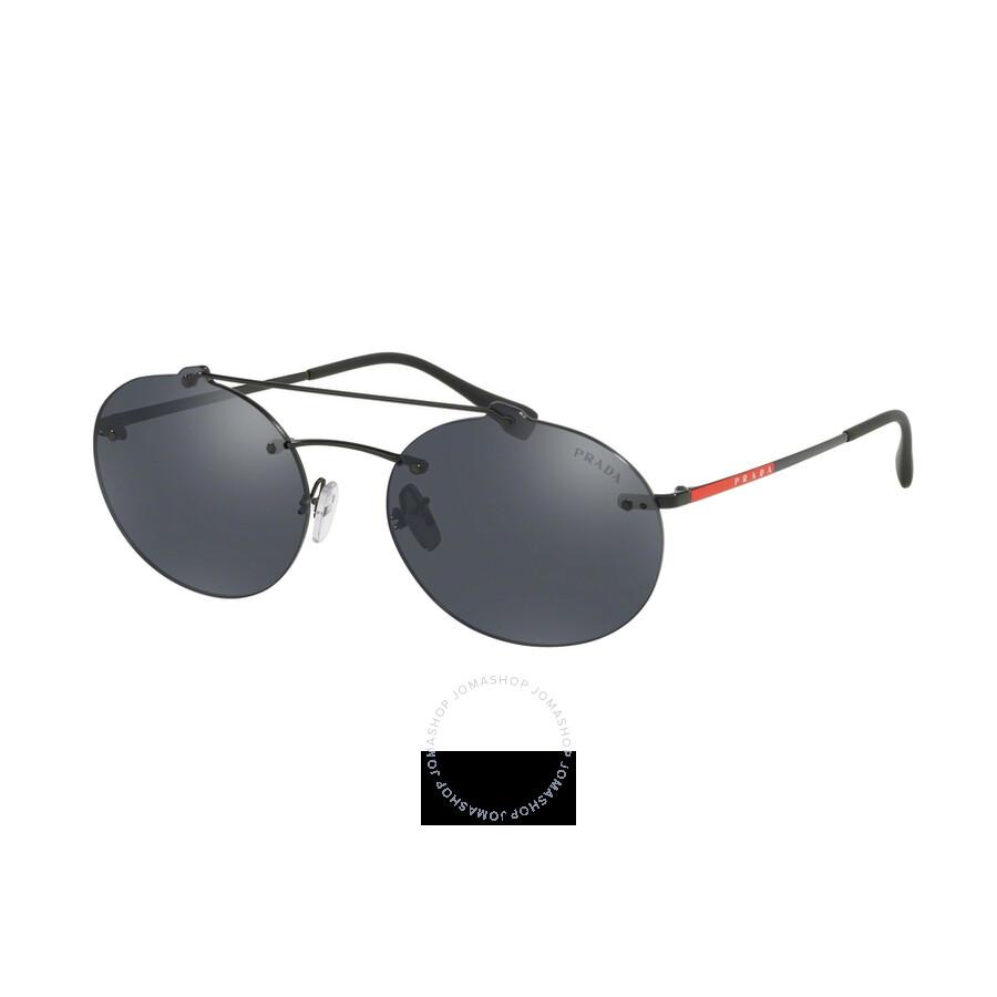 aa2381274f6e Prada Grey Mirror Black Round Men's Sunglasses PR PS56TS 1AB5L0 55