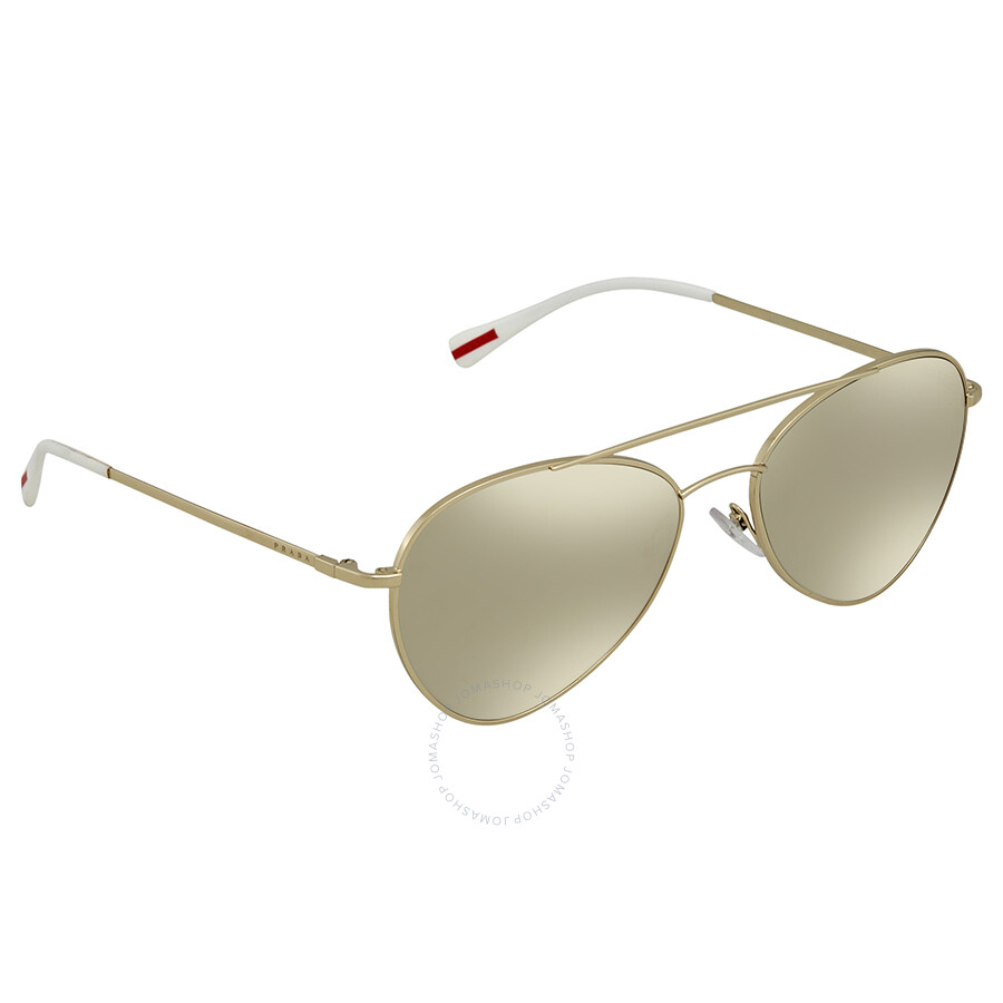 7e51325d11f9 ... cheap prada linea rossa light brown mirror gold aviator mens sunglasses  ps50ss zvn1c0 60 b6a55 aaffe