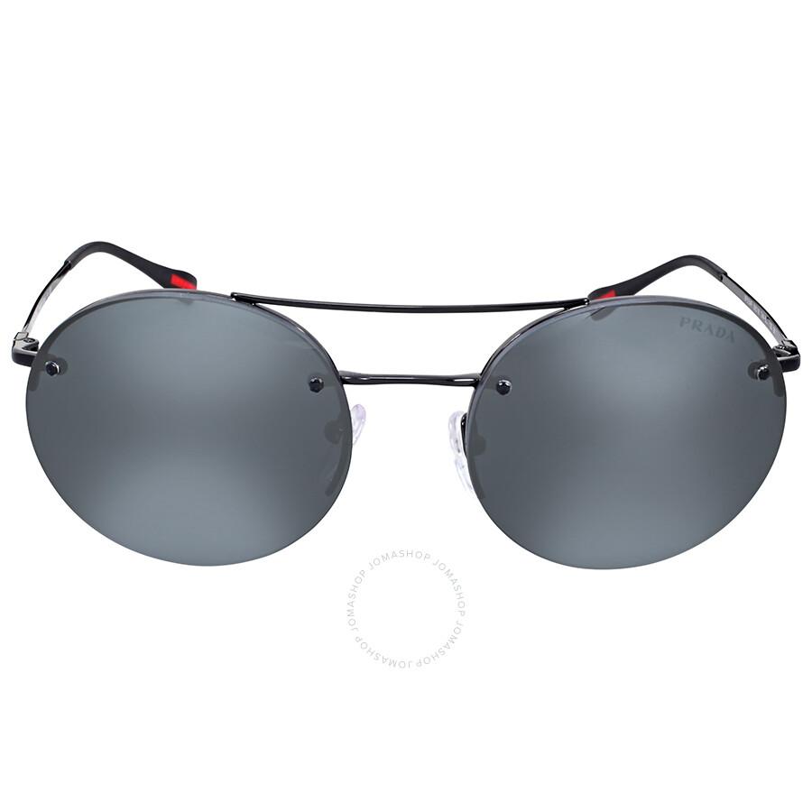 f3546cd189fb ... coupon code for prada linea rossa round aviator grey mirror black  sunglasses 19bf8 d0e80