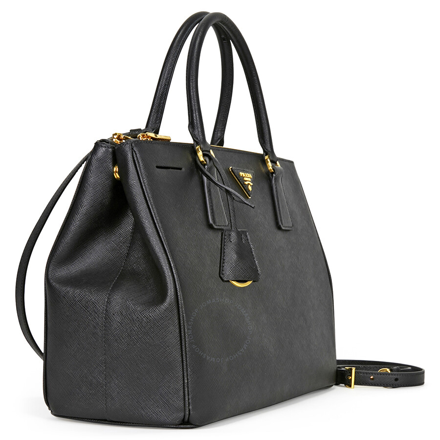 d332ee0f6c ... low price prada lux large double zip saffiano leather tote black 2752f  795bd