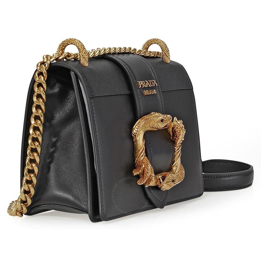c7959a80412f ... clearance prada medium leather cahier shoulder bag black 756c9 1fe59 ...