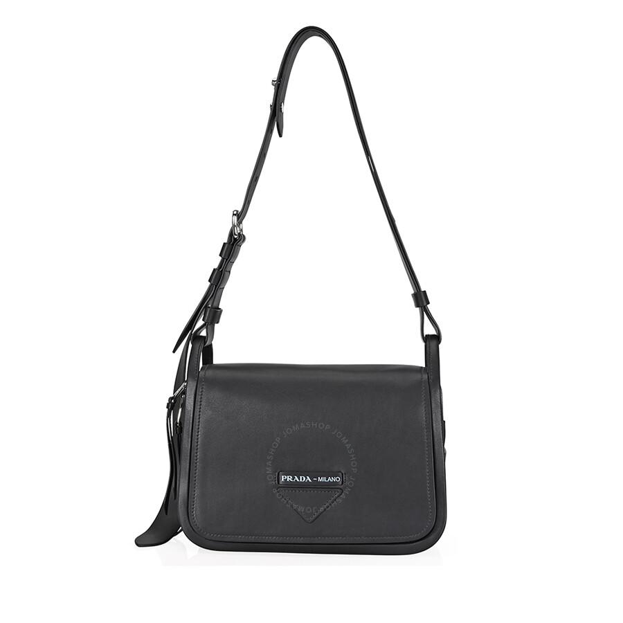 7bbbe5f956255 Prada Medium Leather Shoulder Bag- Black