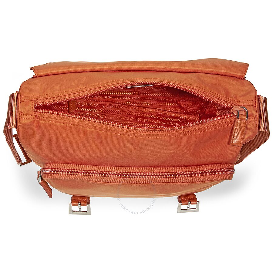 73579debb674da ... shop spain prada nylon messenger bag papaya e6d7b 816f5 b56b6 067b9