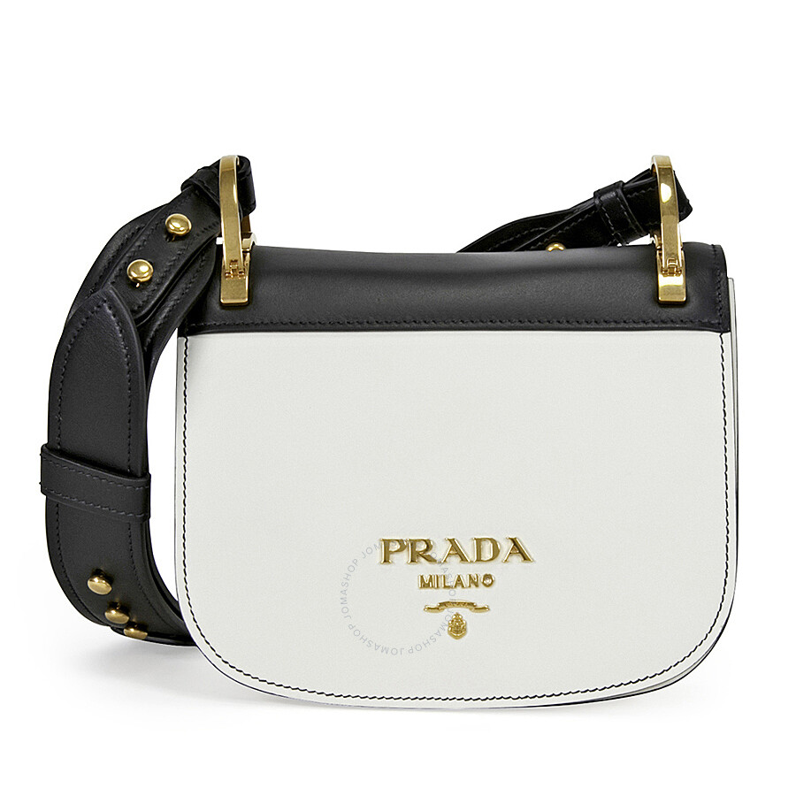 19839c493549 ... good prada pionniere leather shoulder bag black and white 6f44d adce0