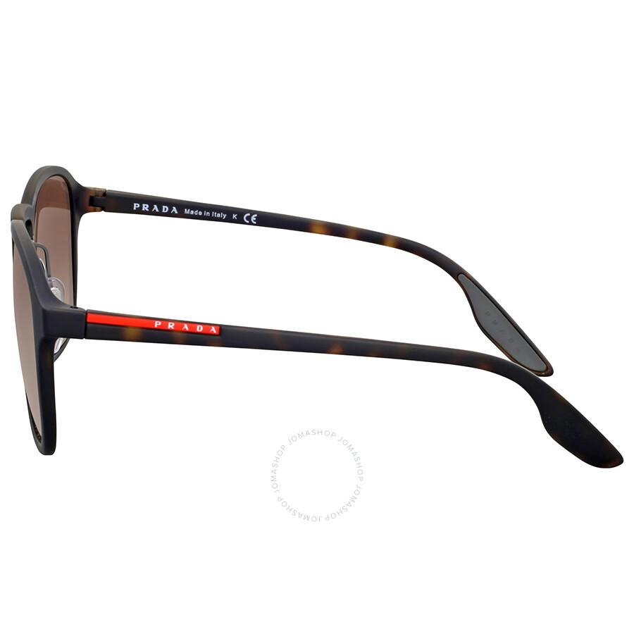 Prada Rectangle Rubber Frame Brown Gradient Sunglasses - Prada ...