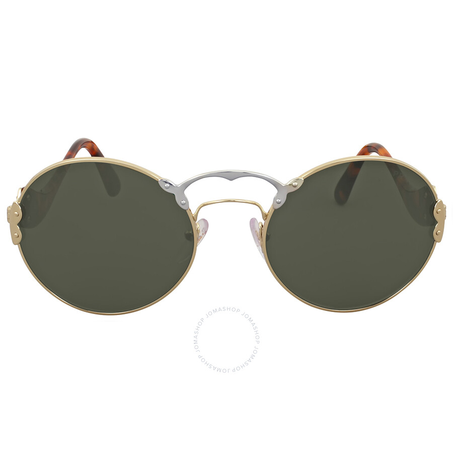 9c74955a8b9 Prada Gold Aviator Sunglasses With Crystal Blue Lens - Shabooms