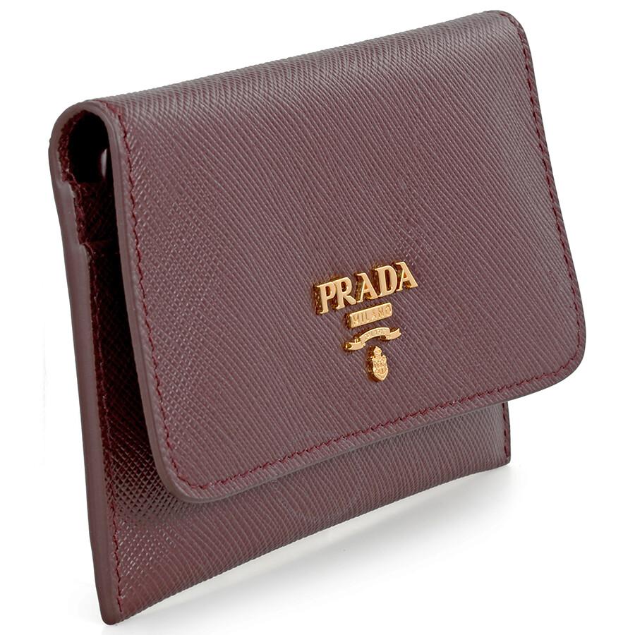 Prada Saffiano Leather Credit Card Holder - Granato - Prada ...