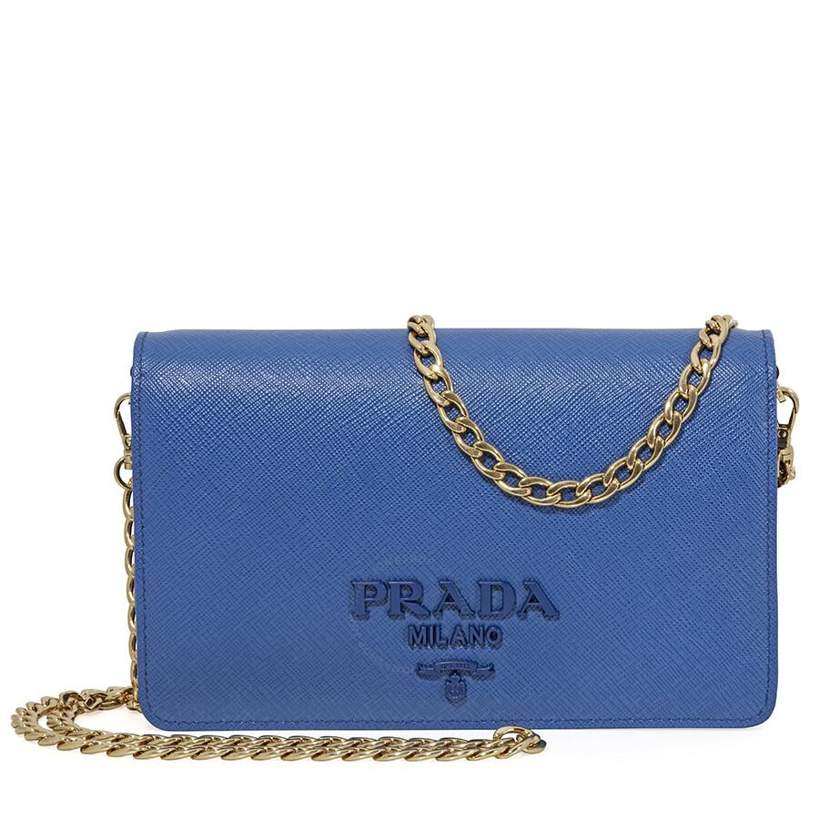 Prada Saffiano Leather Crossbody Bag Blue