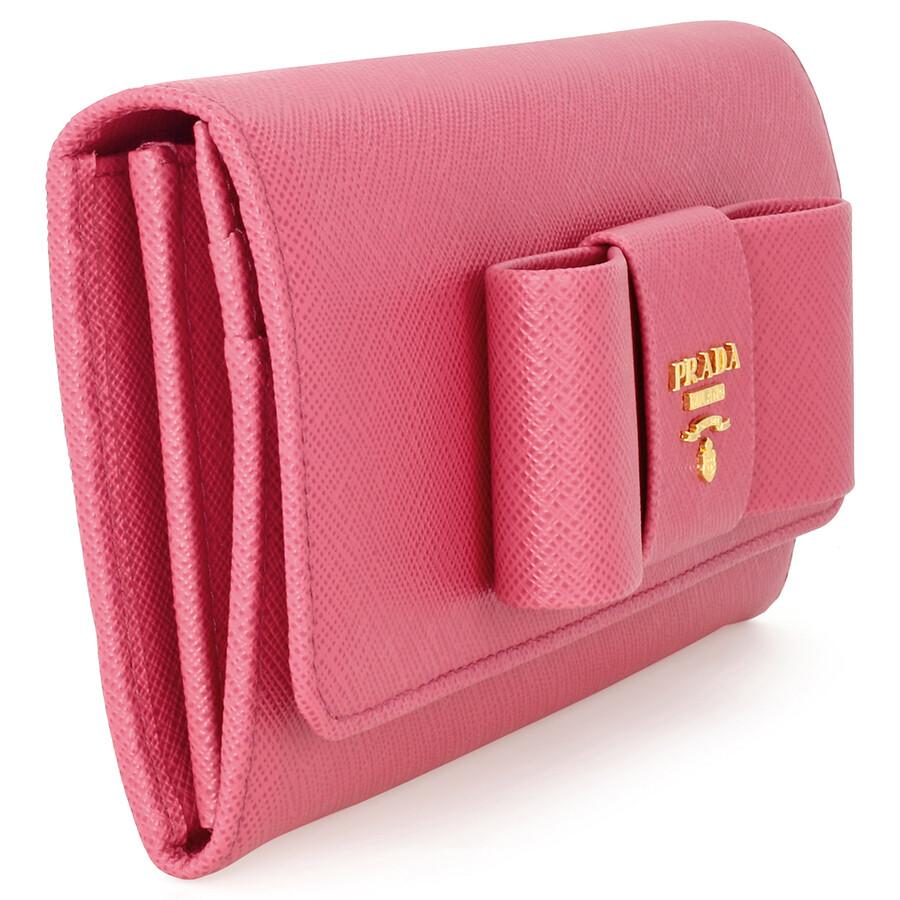 69bb0bfaf9d444 ... netherlands prada saffiano leather fiocco continental wallet peonia  6f50b f65f2