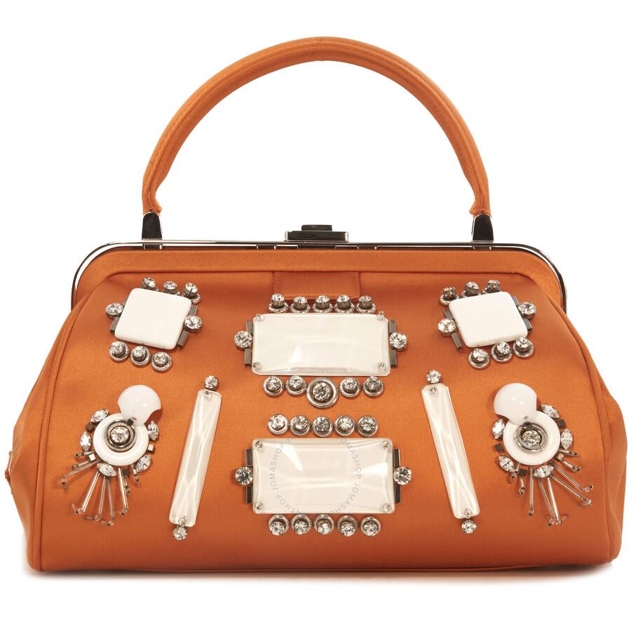 2448b208685fbf ... bag by prada 773fe 53742; canada prada satin jeweled handbag orange  6c10e 4945a