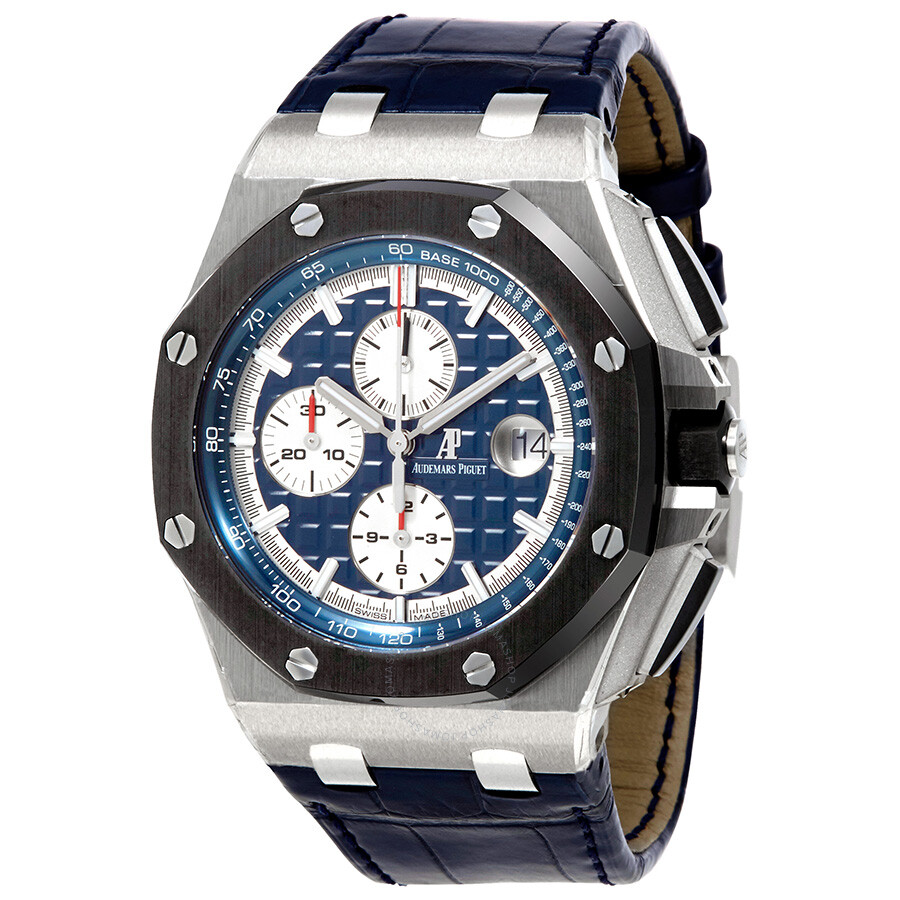 Pre-owned Audemars Piguet Royal Oak Offshore Blue Alligator Leather Mens Watch 26401PO.OO.